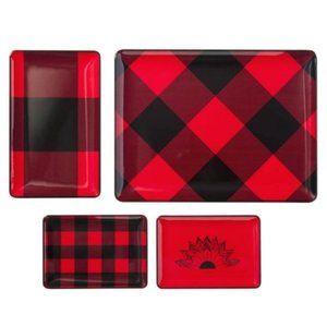 4 Pc Red & Black Serving Tray Set